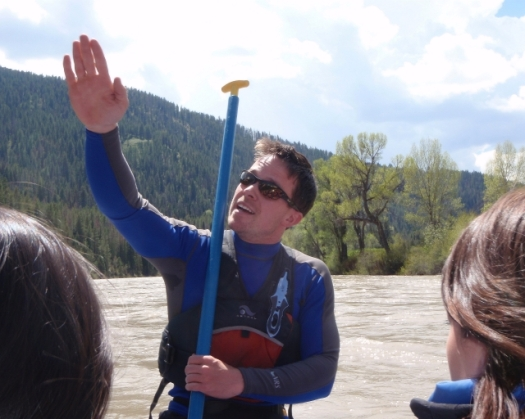 Our Guide Informing Us On the Height of the Rapids