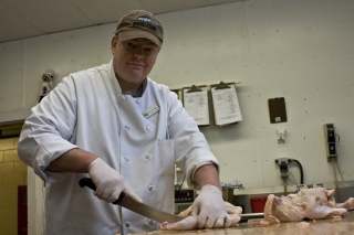 Head Butcher Steve Traughber Preparing Pear Chickens