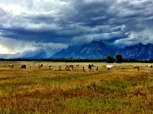 A storm rolls in over the Tetons as I commute home after work.